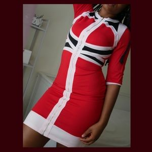 Retro Commander Fitted Dress - Red